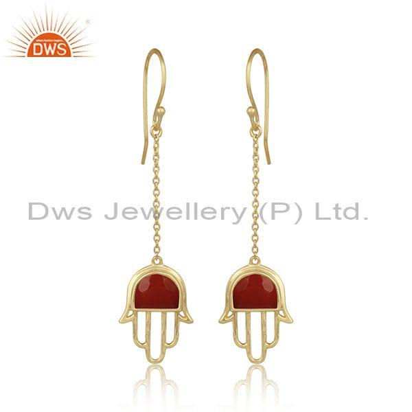 Red Onyx Hamsa 925 Silver Gold Plated Ear Wire Earrings