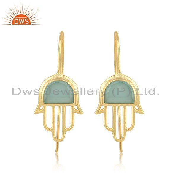 Designer Hamsa Hand Gold on Silver Earring with Aqua Chalcedony