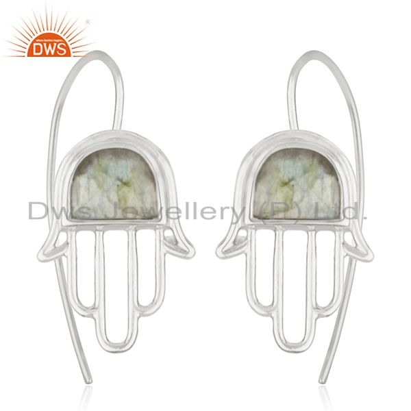 92.5 Sterling Silver Hamsa Hand Labradorite Gemstone Earring Wholesale