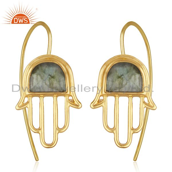 Labradorite Gemstone Gold Plated 925 Silver Hamsa Hand Charm Earring Wholesale