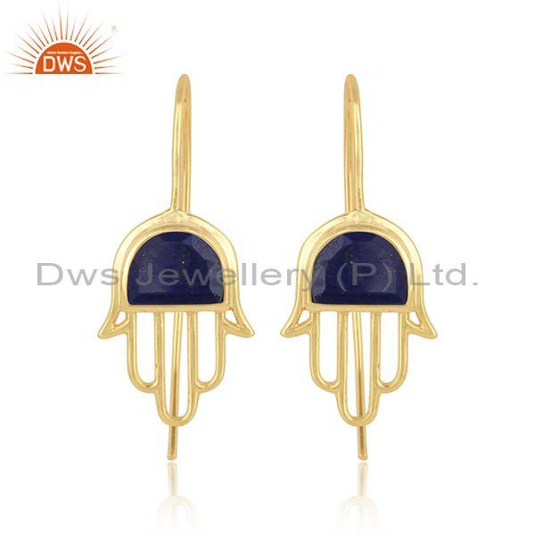 Handcrafted Hamsa Yellow Gold on Silver Studs with Lapis
