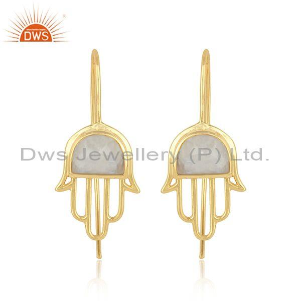 Designer Hamsa Hand Gold on Silver Rainbow Moonstone Earring