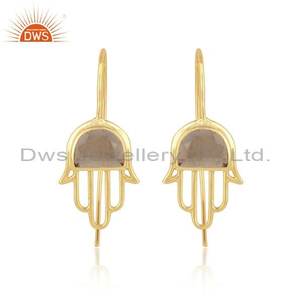 Designer Hamsa Hand Gold on Silver 925 Earring with Smoky