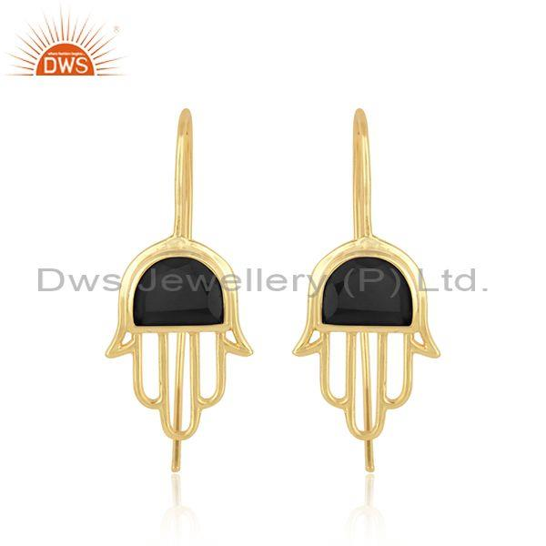 Handcrafted hamsa yellow gold on silver studs with black onyx
