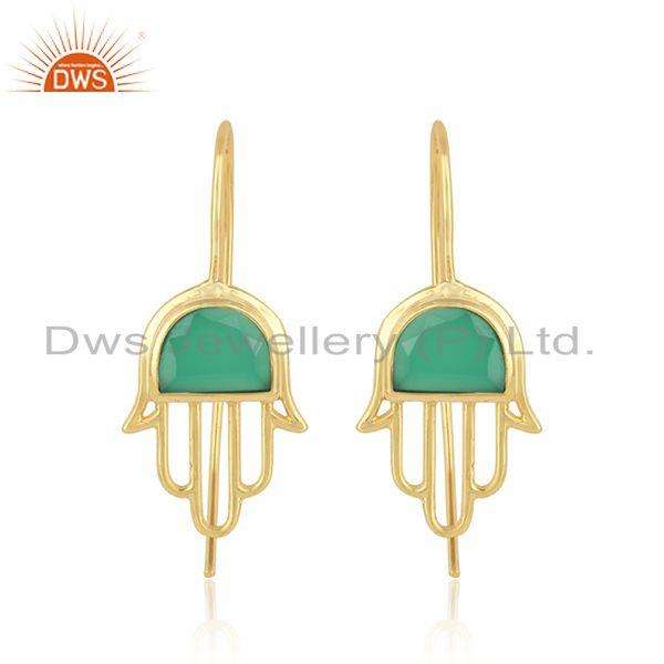 Handcrafted hamsa yellow gold on silver earring with green onyx