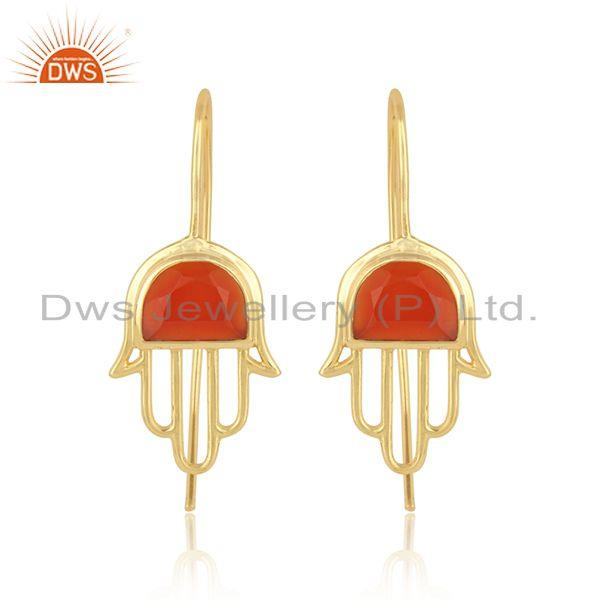 Handcrafted Hamsa Yellow Gold on Silver 925 Earring with Red Onyx