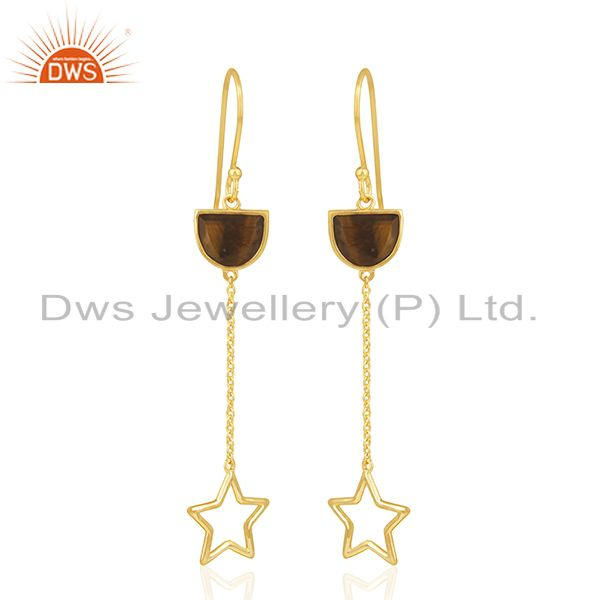 Tiger Eye Gemstone Gold Plated 925 Silver Star Charm Dangle Earring Manufacturer