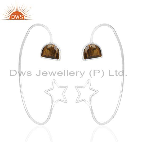 Star Shape 925 Sterling Fine Silver Tiger Eye Gemstone Earring Manufacturers