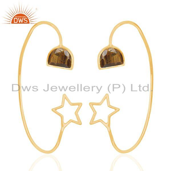 Star Design Yellow Gold Plated 925 Silver Tiger Eye Gemstone Earring Wholesaler