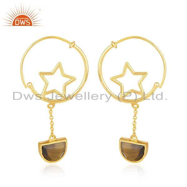 925 Silver Gold Plated Tiger Eye Gemstone Star Charm Hoop Earring Manufacturers