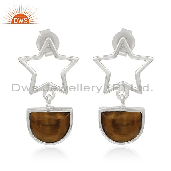 Tiger Eye Gemstone Fine Sterling Silver Star Charm Earring Manufacturers