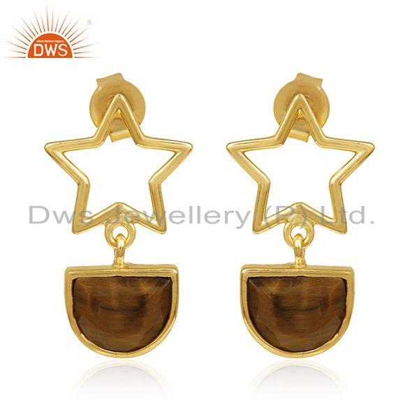 Lucky Star Charm 925 Silver Gold Plated Tiger Eye Gemstone Earrings Wholesale