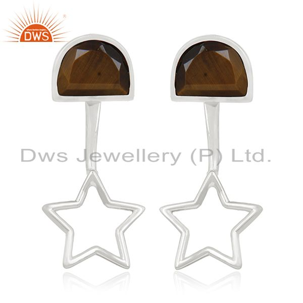 Star Charm 925 Sterling Fine Silver Tiger Eye Gemstone Earring Manufacturers