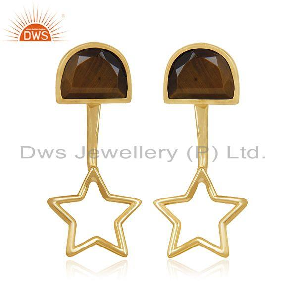 Yellow Gold Plated 925 Silver Tiger Eye Gemstone Star Design Earring Wholesale