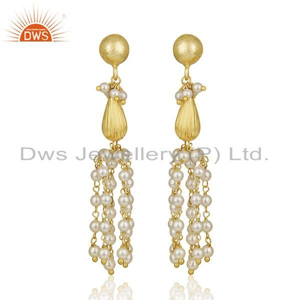 Gold Plated 925 Silver Natural Pearl Traditional Earrings Manufacturer India
