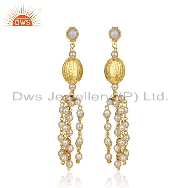 Gold Plated 92.5 Sterling Silver Indian Traditional Chandelier Earring Supplier