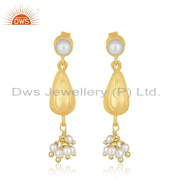 14k Gold Plated 925 Silver Natural Pearl Dangle Earring Manufacturer of Jewelry