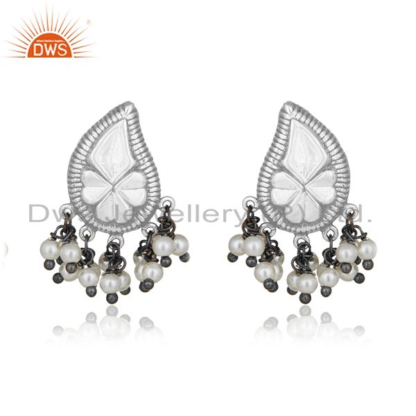 Handcraved Floral Design 925 Silver Natural Pearl Designer Earrings Wholesale