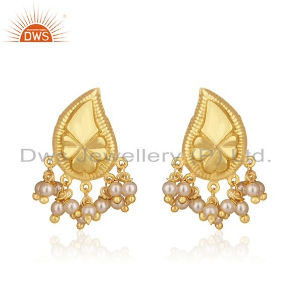 14k Gold Plated Handcraved 925 Silver White Pearl Earrings For Wedding Jewelry
