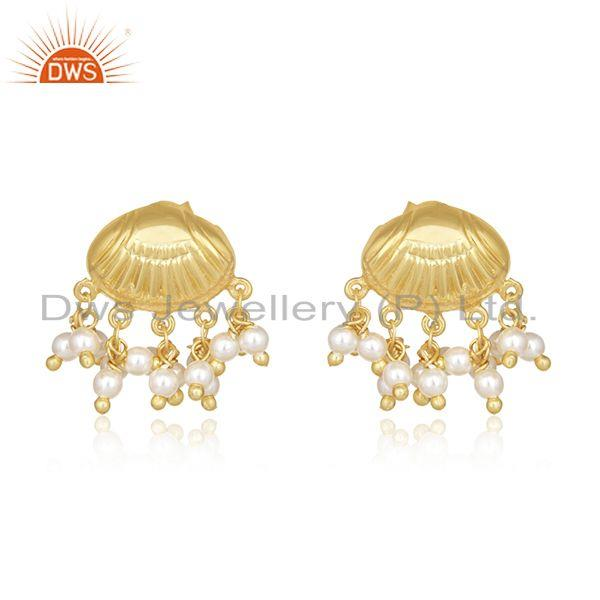 Natural Pearl Gold Plated 925 Silver Handcrafted Earrings Manufacturer India