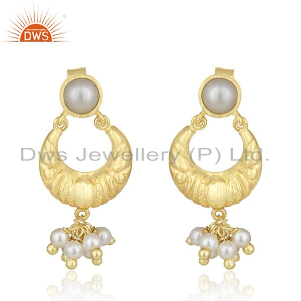 Handcrafted 925 Silver Gold Plated White Pearl Earrings Wholesale Jewelry Spply