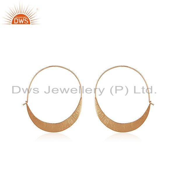 Handmade Rose Gold Plated 925 Silver Simple Hoop Earrings Jewelry for Girls