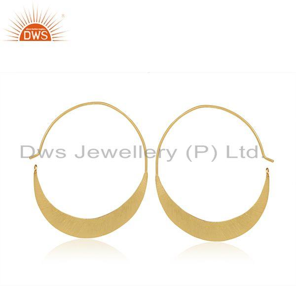 14k Gold Plated Handmade 925 Sterling Silver Half Moon Hoop Earring Manufacturer