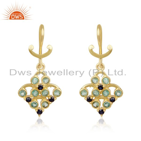 Gold Plated 925 Silver Emerald and Blue Sapphire Birthstone Earrings Manufacture