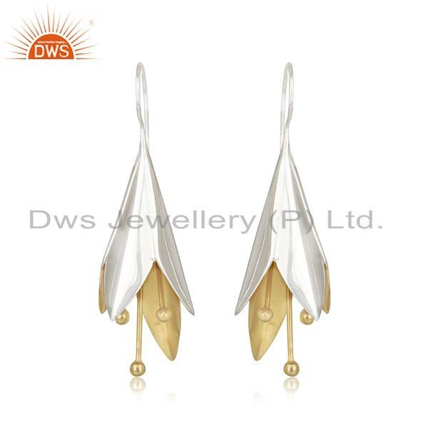 White and Gold Plated Sterling Silver Designer Earrings Wholesale