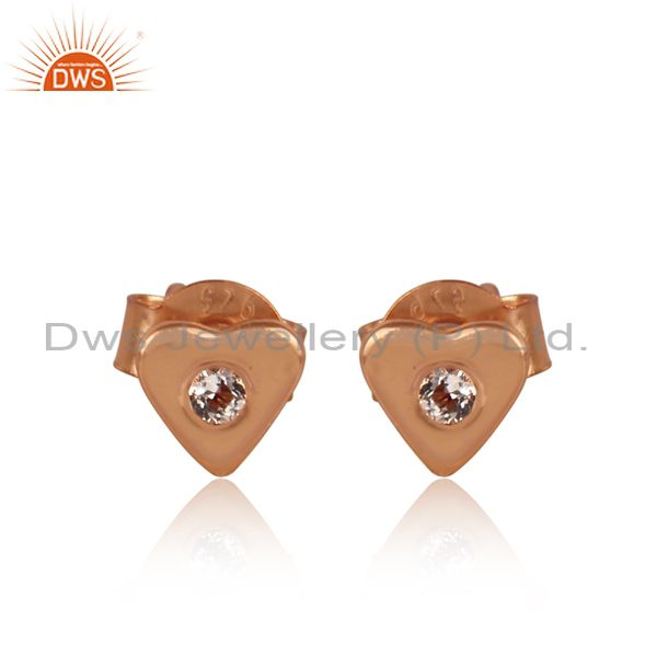 White Topaz Set Gold On Silver Heart Shaped Classic Earrings