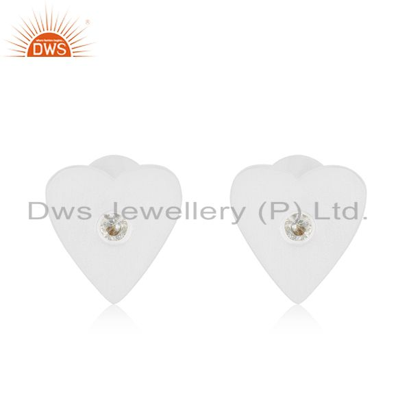 White Zircon Stud 925 Sterling Silver Heart Shape Earrings Jewelry for Girls