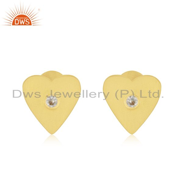 Heart Shape 925 Sterling Silver Gold Plated Cz Stud Earrings Manufacturer India