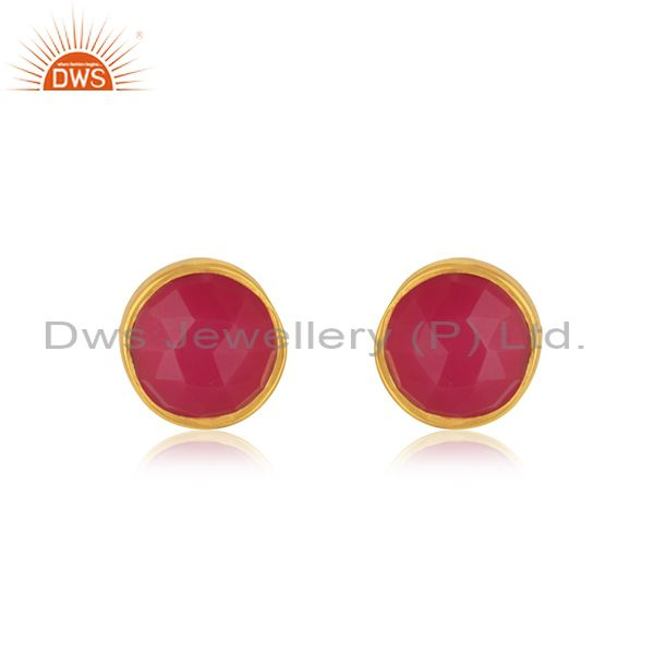 925 Silver Gold Plated Natural Pink Chalcedony Gemstone Stud Earrings