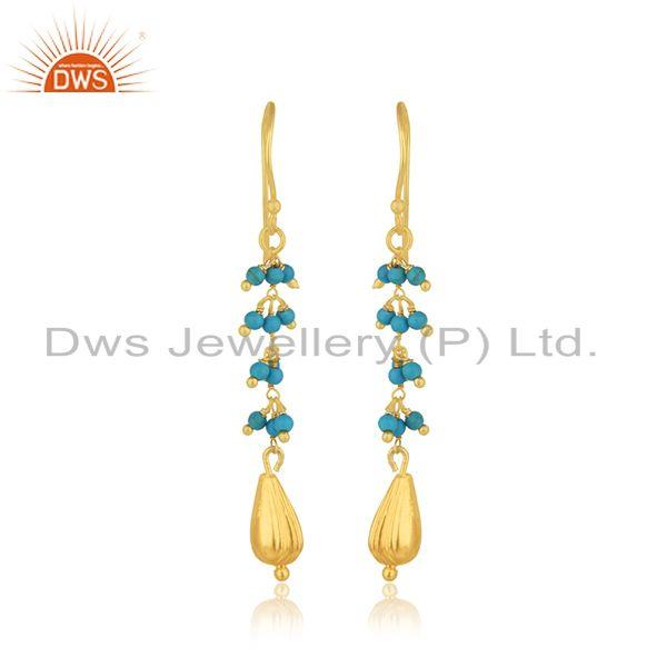 Silver Gold Plated Natural Turquoise Gemstone Earring Jewelry Manufacturer