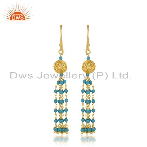 Designer Silver Gold Plated Turquoise Gemstone Earring Jewelry Supplier
