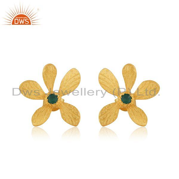 Gold Plated 925 Silver Green Onyx Gemstone Leaf Stud Earrings Manufacturer India