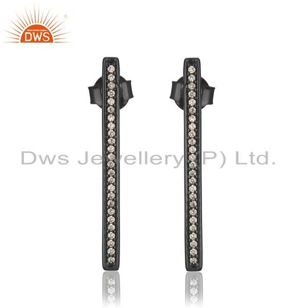 Liner Shape Black Rhodium Plated 925 Silver Earring Jewelry Supplier