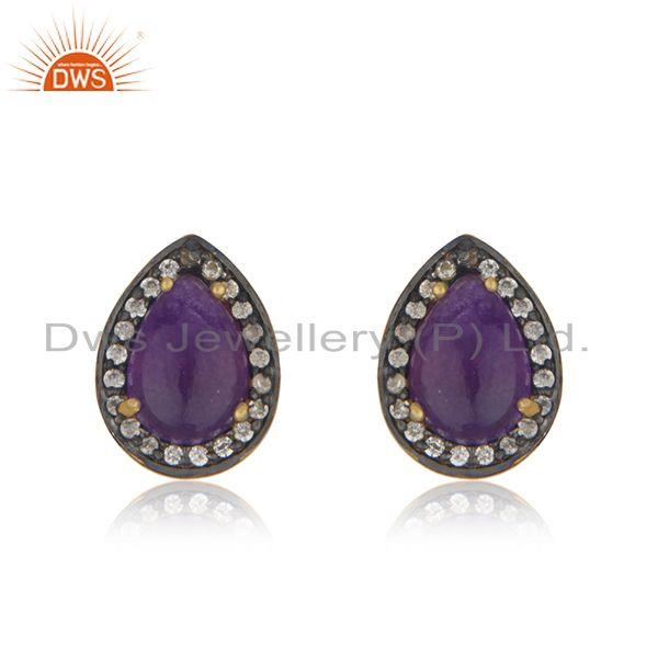 Aventurine Gemstone 925 Silver Stud Earrings Manufacturer of Jewelry