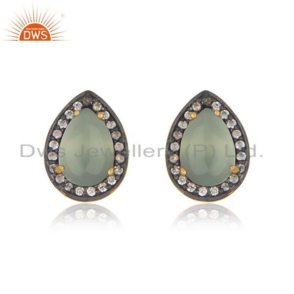 Aqua Chalcedony Gemstone 925 Silver Stud Earrings Manufacturer of Custom Jewelry