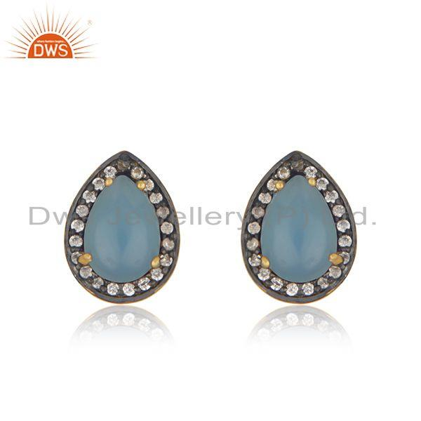 Blue Chalcedony Gemstone 925 Silver Gold Plated Stud Earrings Wholesale India