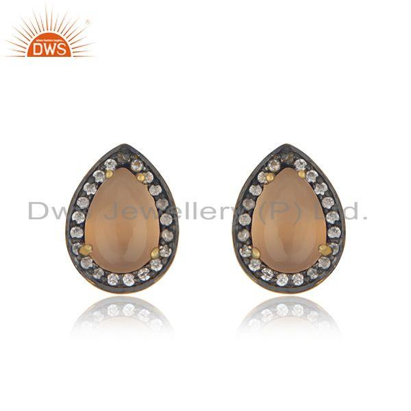 Rose Chalcedony Gemstone 925 Silver Gold Plated Stud Earrings Wholesaler Jaipur