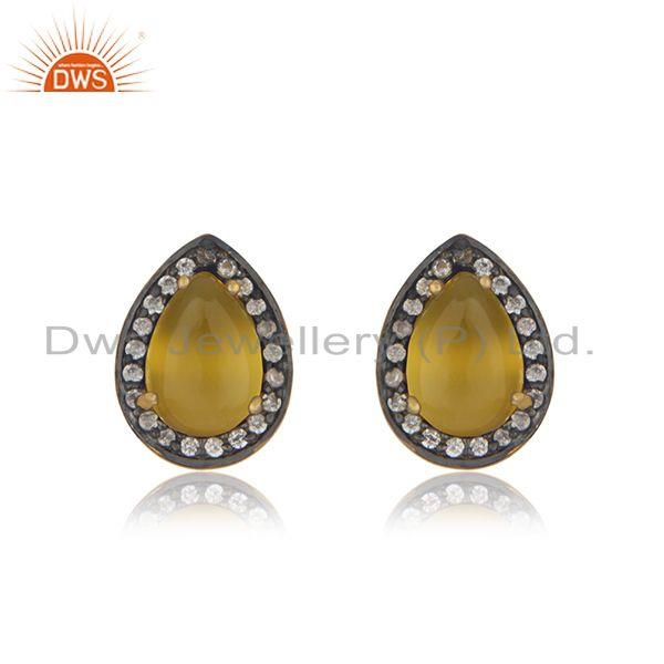 Yellow Chalcedony Gemstone 925 Silver Gold Plated Stud Earring Wholesaler India