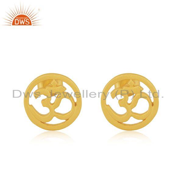 Designer Gold Plated OM Charm Plain Silver Stud Earring Jewelry