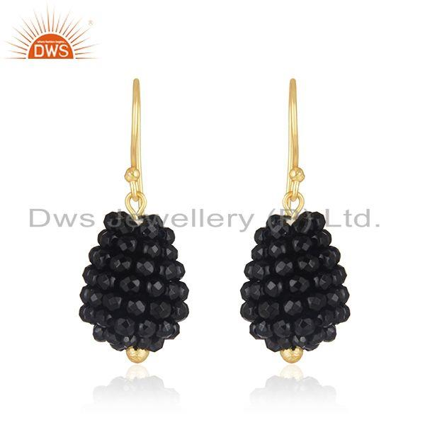Black Onyx Beaded Gemstone Gold Plated Silver Earrings Jewelry
