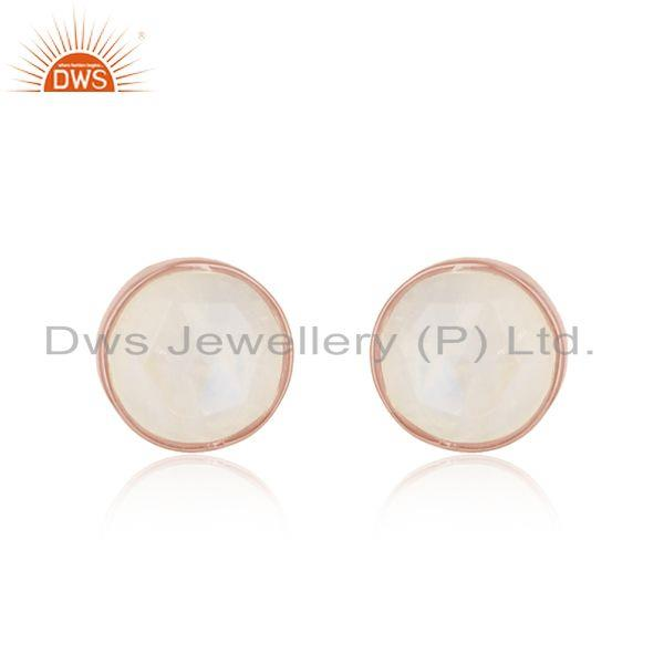 Handcrafted elegant rainbow moonstone studs in rose gold on silver