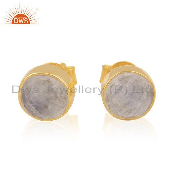 Rainbow Moonstone Gold Plated Designer Silver Girls Stud Earrings