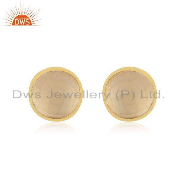 Girls Gold Plated Silver Rose Quartz Gemstone Stud Earrings Jewelry Supplier