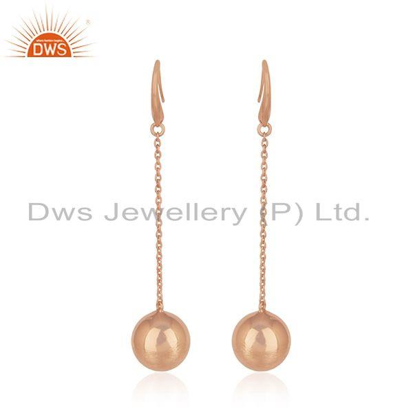 Rose Gold Plated Designer Silver Girls Chain Earrings Jewelry