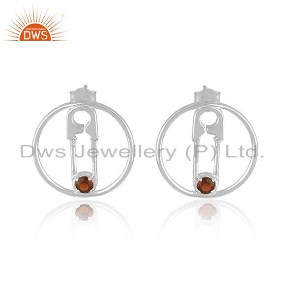 Pin Design Custom Made 925 Sterling Fine Silver Garnet Gemstone Earrings