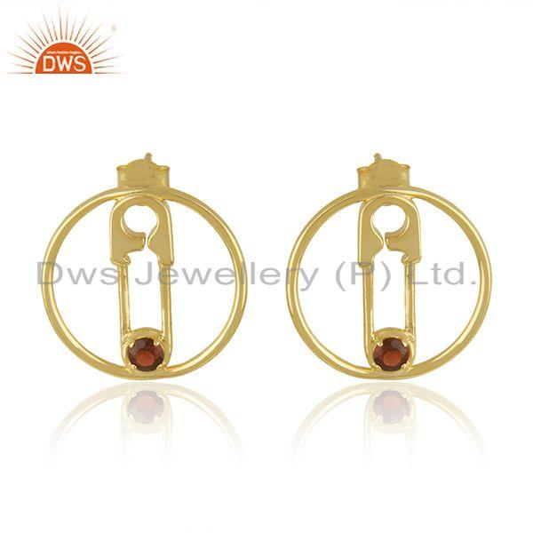 Natural Garnet Gemstone Pin Design Gold Plated 925 Silver Earring Jewellery